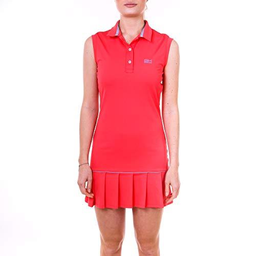Sportkind Mädchen & Damen Tennis, Hockey, Golf Polokleid mit UV-Schutz, Ärmellos, pfirsich, Gr. 158