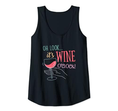 Mujer Oh Look It's Wine O'Clock, divertido regalo de fiesta para bebedores de vino Camiseta sin Mangas