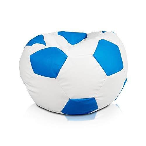 Ecopuf Fußball, personalisierbar, mit den Farben Ihres Teams, aus Kunstleder, Größe S 55 x 35 cm