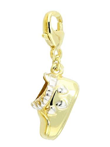 Babyschuh Anhänger (Ohne Kette) Gelbgold Weissgold 585 Gold (14 Karat) Mit Karabiner 30mm x 7mm Charm Kettenanhänger Goldanhänger Baby Shoe A-03302-G461