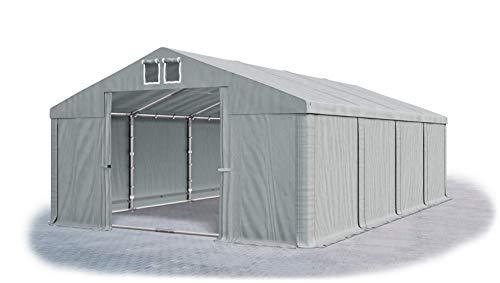 Das Company Lagerzelt 6x8m wasserdicht mit Bodenrahmen grau Zelt 560g/m² PVC Plane hochwertig Zelthalle Summer Floor SD