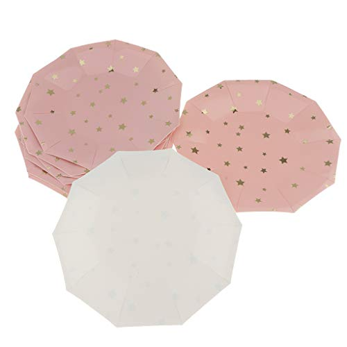 Baoblaze Lot de 8 Assiettes Jetables en Papier Ultra Résistant, Haute Qualité - Rose1, 7 Pouces