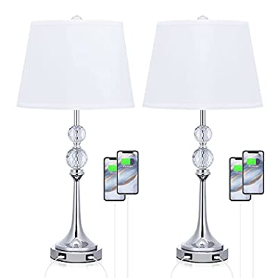 """USB Table Lamp Set of 2, 26""""H Bedside Lamp with White Lampshade, Bedroom Lamp Sets Crystal Ball Lamp Bedside Light with USB, Nightstand Lamp for Bedroom Living Room"""