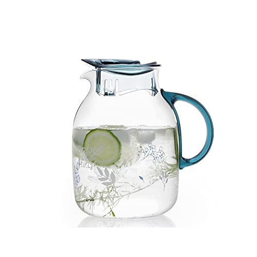 liangzishop Jarra de Agua Cristal Jarra de Agua fría de Vidrio con Mango Anti-escaldado Jarra de Gran Capacidad para el hogar Tetera Resistente a la Alta Temperatura (50.7/67.6 oz) Jarras de Vidrio