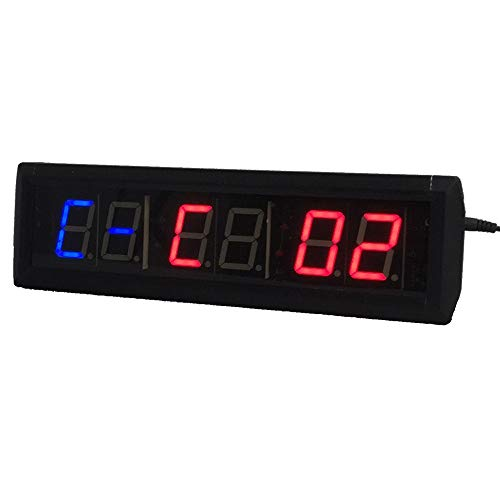 LED Digital de Cuenta atrás Countup Reloj de Pared con Disparo a intervalos de Fitness Cronómetro for Gym (Color : Black, Size : Digital Height 1.8inch)