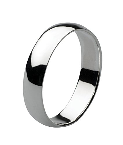 Dew Sterling Silver Plain Band Ring 5mm D Section- Size T - 2002HPT