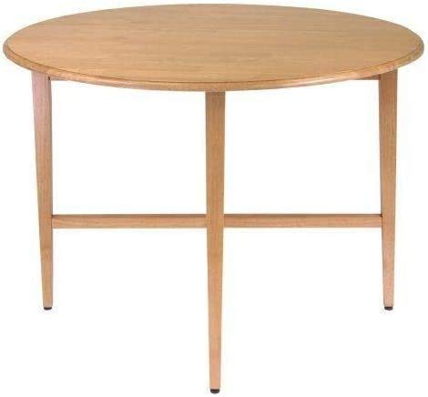 COLIBROX 42-inch Round Drop-Leaf Folding Dining Kitchen Accent Table (Walnut)