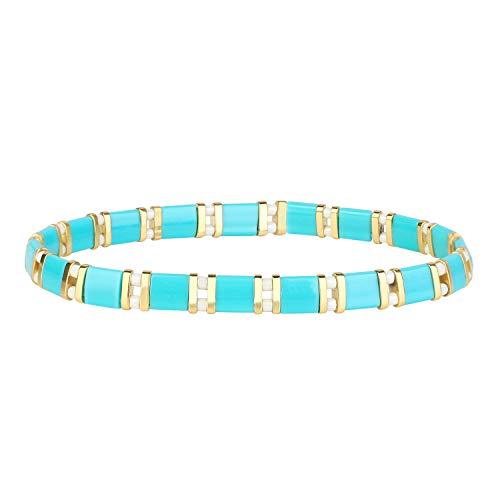 KELITCH Miyuki Strand Bracelets Tila Beaded Bracelets Stretch Bracelets Rope Handmade Fashion Jewelry for Women 2020 D