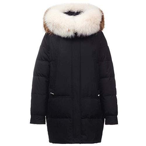 Frauen-Max Langer Winter-Puffer Coat Vegan Daunenjacke Arctic Mantel Verdickte Mantel Mit Kapuze,Schwarz,XLarge
