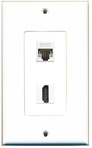 RiteAV - 1 Cat5e Ethernet and 1 HDMI Decorative Wall Plate - White