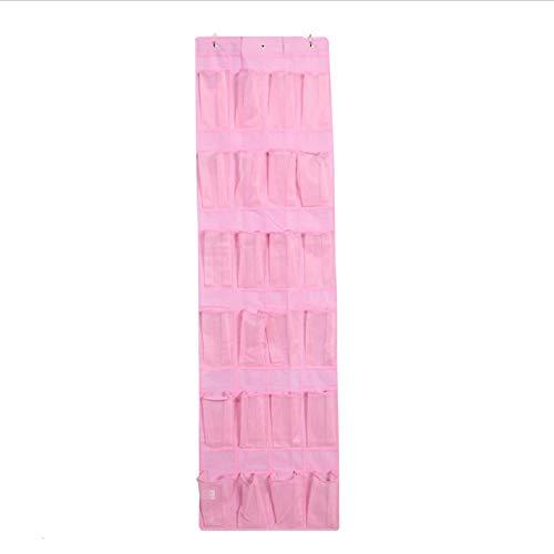 Schuh-Organizer mit 24 Taschen – über der Tür – Netz-Schuhhalter zum Aufhängen von Schuhen mit Türhaken für Schlafzimmer, Schrank, Badezimmer, 167,6 x 48,3 cm (Pink)