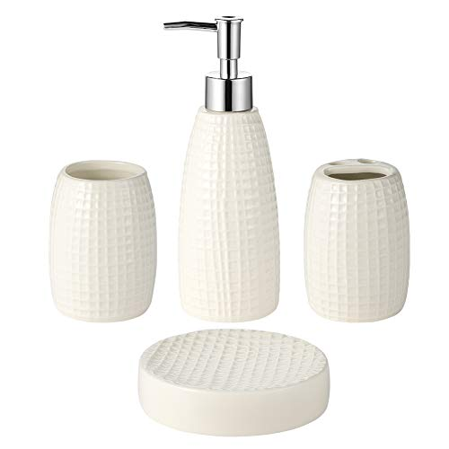 JOTOM Ceramic Bath Accessory Set,Bathroom Accessories Set - 4 Pieces with Hand Sanitizer Bottle,Toothbrush Cup,Toothbrush Holder,Soap Dish (Lighthouse)