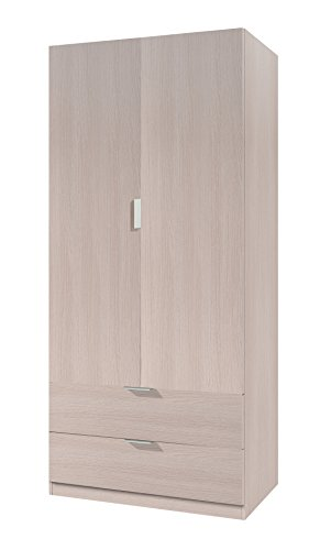 Habitdesign 00X222R - Armario ropero de 2 Puertas, Mueble Armario con 2 cajones, Color Roble, Dimensiones: 81 x 180 x 52 cm
