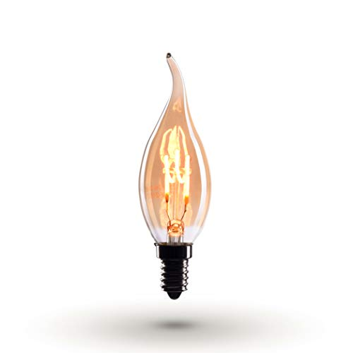 CROWN LED 6 x Edison Kerzen Glühbirne E14 Fassung, Dimmbar, 2W, Warmweiß, 230V, EL08, Antike Filament Beleuchtung im Retro Vintage Look