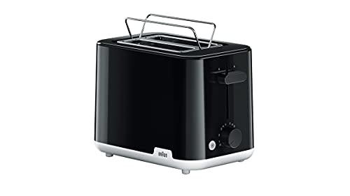 Braun Breakfast1 Tostadora de doble ranura, tostadora con 8 niveles de tostado y función descongelación, 900 W, HT1010BK, plástico, negro