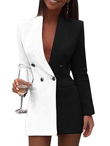 Minetom Damen Blazer Kleid Frauen Elegant Langarm V-Ausschnitt Zweireihig Kontrastfarbe Hemdkleid Business Lange Hülse Büro Jacken Knopf Anzug Schwarz 34