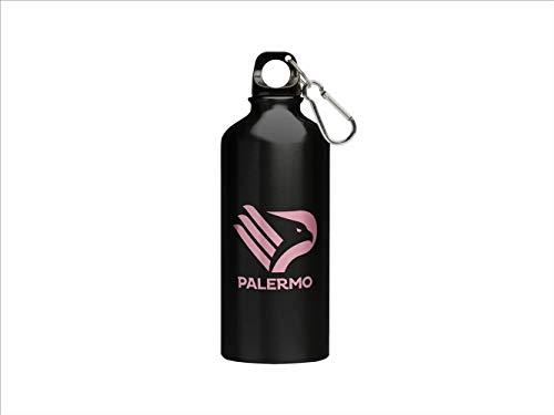 official product Palermo - Cantimplora de aluminio negro y rosa con logotipo nuevo de 400 ml con mosquetón