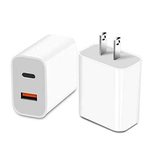 【2ポート】PD充電器 18W 急速充電器 アダプタ Type-C PD3.0 / QC3.0対応 USB-C/USB-A 2ポート iPhone 12 / 12 Pro/iPhone 11 Pro Max/iPhone X Pro Max/iPhone 8 Plus iPad Air(第4世代) Galaxy S9 / S9+, Xperia XZ1 その他USB-C機器対応Android (ホワイト【2ポート】)