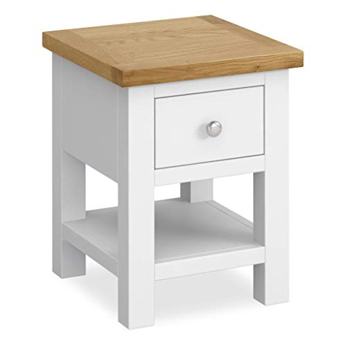 RoselandFurniture Farrow White Lamp Table   Painted Country Solid Wood Small Side End Sofa Table for Living Room, Hallway or Bedroom, Fully Assembled