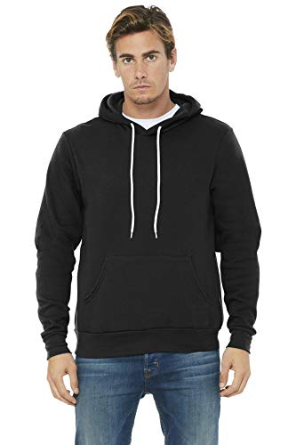 Bella 3719 Unisex Poly-Cotton Fleece Pullover Hoodie - Black44; Extra Large