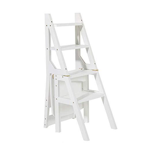 Qazxsw Weißer hölzerner Leiterstuhl Faltbarer Multifunktions-Heimbibliotheksbüro 4 Stufen Regalleiter Blumenständer Tritthocker