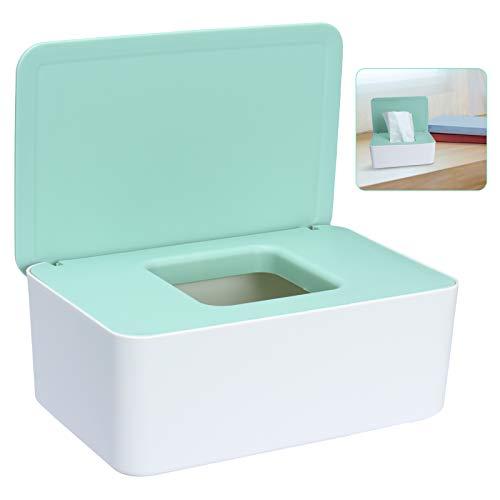 Sinwind Feuchttücher-Box, Aufbewahrungsbox für Feuchttücher, Baby Feuchttücherbox, Toilettenpapier Box, Taschentuchhalter, Spenderhalter mit Deckel für Zuhause und Büro (Grün-Weiß)