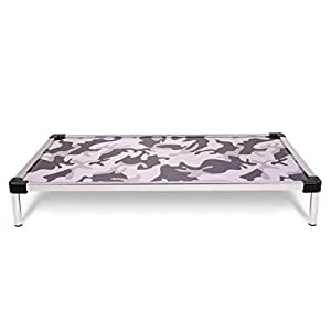 K9 Ballistics Chew Proof Elevated Dog Bed – Chewproof – All Aluminum – Indoor/Outdoor – Ripstop Ballistic Fabric – Ships Assembled – Fits Inside Crates (X-Large 47″ x 29″ x 5″, Snow Camo)