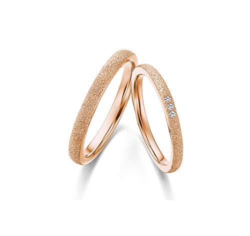 AnazoZ Couple Ring Bridal Sets 18K Rose Gold Diamond 0.03ct Cz Wedding Engagement Ring Bridal Sets Women Size M 1/2 & Men Size R 1/2