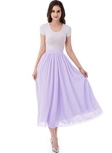 emondora Women's Chiffon Long A-line Retro Skirts Pleated Beach Maxi Skirt Lavender Size M