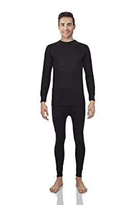 Rocky Thermal Underwear for Men Waffle Knite Thermals Men's Base Layer Long John Set [Black Set (Waffle) - Large]