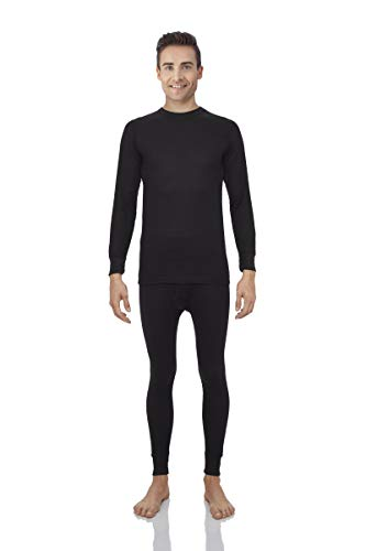 Rocky Thermal Underwear for Men Waffle Knite Thermals Men's Base Layer Long John Set [Black Set (Waffle) - Large]