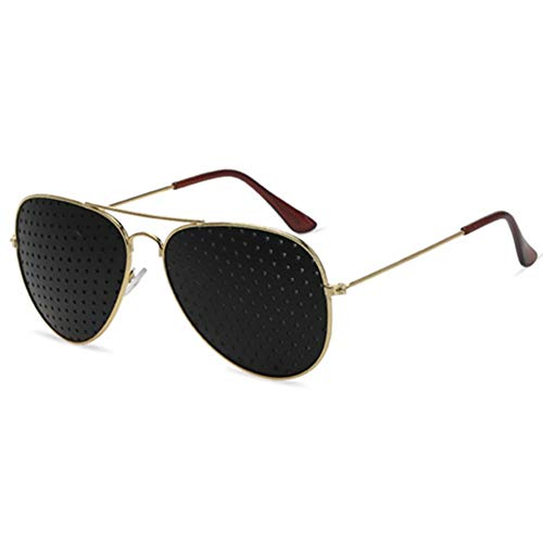 Sonnenbrille, Pinhole Microhole Small Brille, Strabismus Correction Micro Anti-Fatigue- / Anti-Myopie- / Astigmatismus-Brille (Color : Gold)
