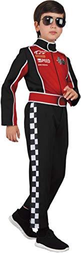 Magicoo Rennfahrer Formel 1 Kostüm Kinder Jungen von 110 bis 128 Rot/Schwarz- Autofahrer F1 Anzug Kind (122/128)