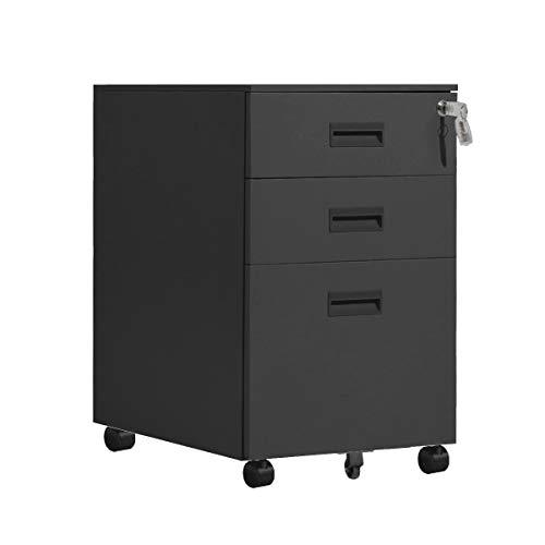 sogesfurniture Rollcontainer, Mobiler Aktenschrank, Büroschrank, Bürocontainer mit 3 Schubladen, abschließbar, Aufbewahrung von Akten, Büroutensilien, vormontiert, 40x50x63cm, BH-HCCBN002-BK