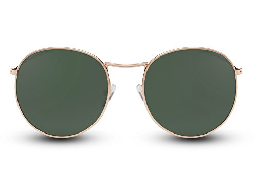 Cheapass Sonnenbrille Rund Gold Grün Verspiegelt UV-400 John-Lennon Harry-Potter Damen Herren