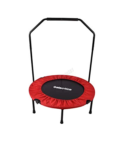 GALACTICA Foldable Rebounder | Mini Trampoline For Fitness | Indoor Bouncer With Handrail | Home Gym Equipment | Weight loss Cardio Exercise | 40 Inch Red