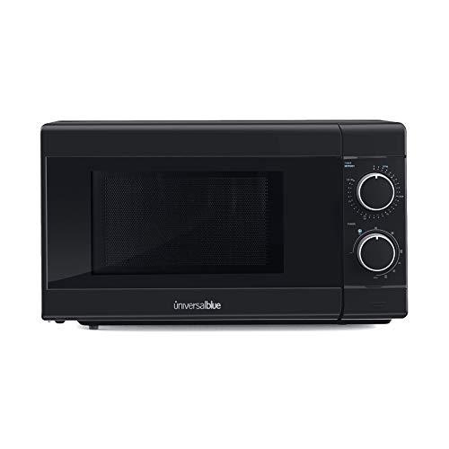 UNIVERSALBLUE | Microondas con grill negro | 700W de potencia | Capacidad 20L |Temporizador | Función descongelar | 5 potencias | Easy Clean