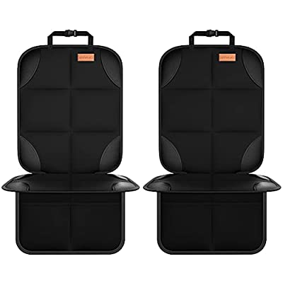 Car Seat Protector, Smart eLf 2Pack Seat Protector Protect Child Seats with Thickest Padding and Non-Slip Backing Mesh Pockets for Baby and Pet from Smart eLf