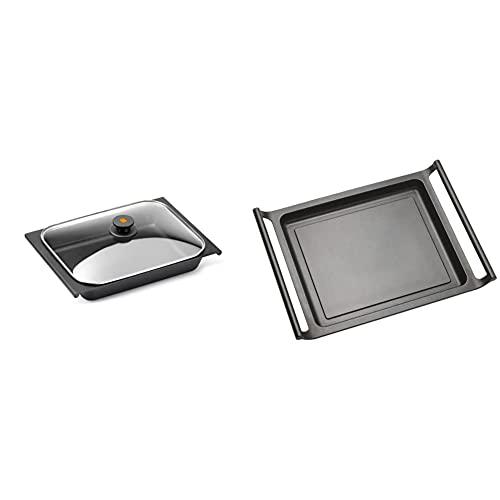 Bra Bandeja Rustidera, Negro, 41 Cm + Efficient Plancha Asador Liso, 45 Cm, Aluminio Fundido Con Antiadherente Teflon Platinum Plus