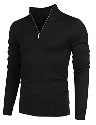 COOFANDY Men's Quarter Zip Sweaters Slim Fit Lightweight Cotton Mock Turtleneck Pullover (01-Black, Medium)