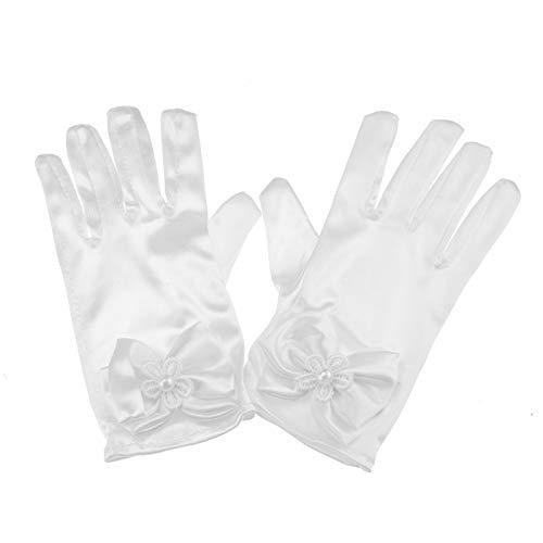 1paar Mädchen Handschuhe kurz Satin Kommunion Hochzeit Weiß Blumen Schleife