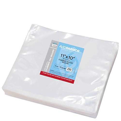 """Chamber Machine Vacuum Pouches 11"""" x 10"""" Size 3MIL Pre-Cut Heavy Duty Bags 250 Pack BPA Free Sous Vide Safe - NOT COMPATIBLE WITH FOODSAVER TYPE VACUUM SEALERS - Commercial Use Grade Avid Armor"""