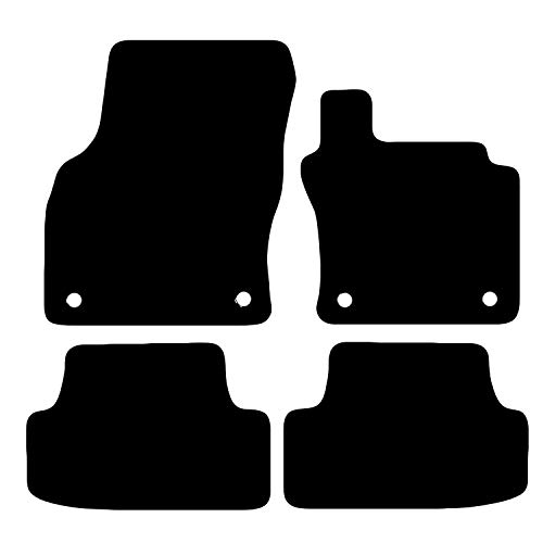 Carsio Tailored Black Carpet Car Mats for Volkswagen Golf MK7 2012-2017 - 4 Piece Set with 4 Clips