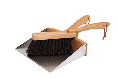 Redecker Horsehair Broom and Stainless Steel Dust Pan Set, 35-3/8 inches, Durable Oiled Beechwood...