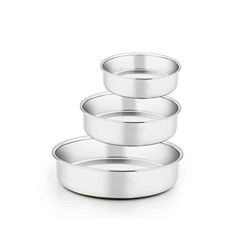 TeamFar Cake Pan, 6'' & 8'' & 9 ½'', Stainless Steel Round Baking Tier Cake Pans Set, for Baking Steaming Serving, Healthy & Heavy Duty, Mirror Finish & Dishwasher Safe - 3 PCS