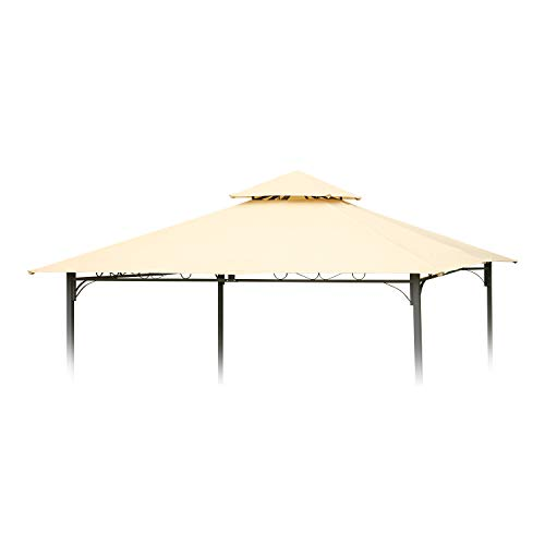 Angel Living Cubierta Superior de Repuesto para Techo de 3 x 3 m para cenador de jardín de 2 Niveles, toldo de Repuesto para toldo de Tienda de campaña, Color Beige, tamaño 297 x 297 cm
