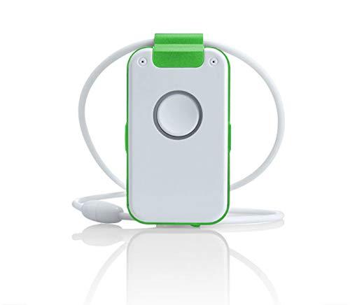 Wantec WX32 DECT Notrufsender mit Sprachbegleitung, Sturzerkennung, Erinnerungsfunktion, Rauchalarmerkennung und Sprach-Assistent, Grün