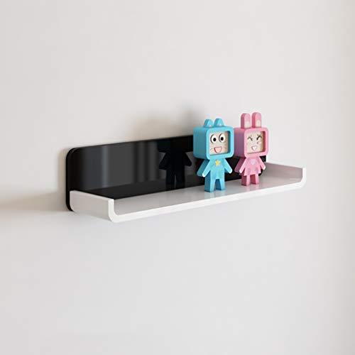 Étagères flottantes en bois mur noir et blanc organisateur Étagère flottante étagère murale décorative pour chambre, salon, salle de bains, cuisine, bureau et plus, 80CM