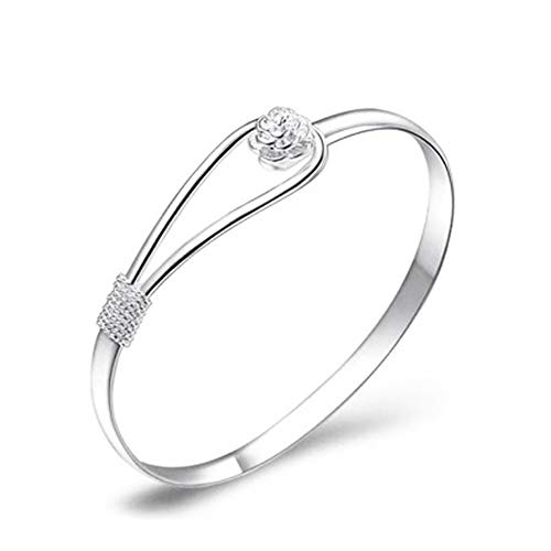 925 Sterling Silver Bracelet Elegant Clip-On Button Style Floral Design Bangle Classic Bangle Jewellery for Women Girls