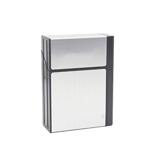 TWW Estuche De Cigarrillos 20 Piezas De Carga USB De Aluminio para Hombres, Proceso De Dibujo De Carga Desmontable Creativo, Estuche De Cigarrillos Más Ligero Ultrafino,Plata